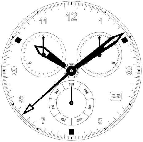 8172 ISA KRONOGRAF VERK 3 ögon ,visare 6 dag (8171/220)