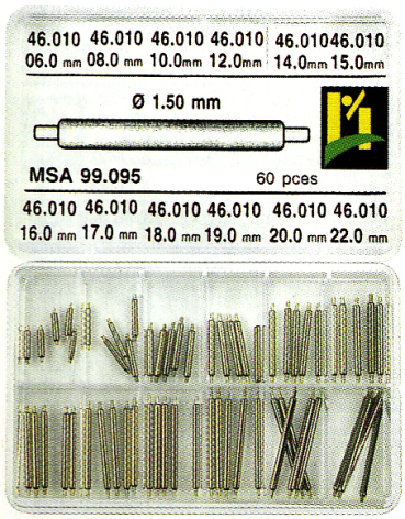 SORT. FASTA BANDSTIFT 1,5 MM 60 ST, MED LÅNG TAPP
