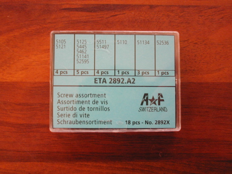 SORT. SKRUVAR TILL ETA 2892 6 olika, totalt 18 styck