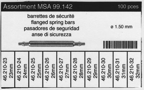 SORT. BANDSTIFT FJÄDRANDE DIA.1,5 MM XL 100 st, 23-32 mm