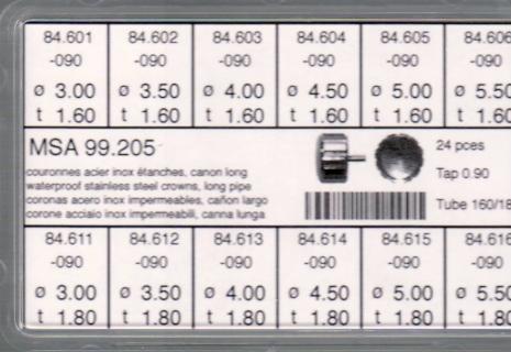 SORT. KRONOR 0,90 TUB160/180 L 24 ST STÅL diam 3-5,5 mm