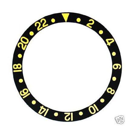 ROLEX SKALA TILL VRIDRING,SVAR GMT PLAST 30,15x37,7 SVART/GUL
