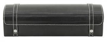 BOX FÖR 5 UR, SV LÄDER VIT SÖM 29x9,5x8 cm London