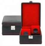 BOX FÖR 4 UR, SVART SYNTET 14x20x9 cm Carbon