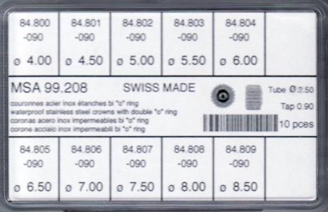 SORT. KRONOR 0,90 TUB250 2 PKN 10 ST STÅL 4-8,5 mm