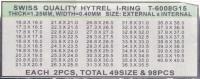 SORT. GLASPACKNINGAR 49 OLIKA Tj.0,40 H.1,25 mm för 1,5 glas