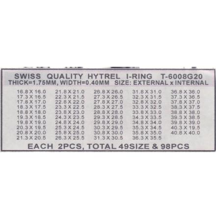 SORT. GLASPACKNINGAR 49 OLIKA Tj.0,40 H.1,75 mm för 2,0 glas