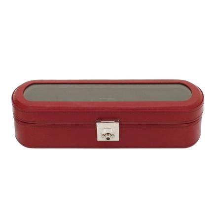 BOX FÖR 5 UR, RÖTT LÄDER 29x9,5x8 cm, Cordoba