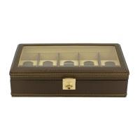 BOX FÖR 10 UR, BRUN SYNTET 35x19,5x10 cm Carbon