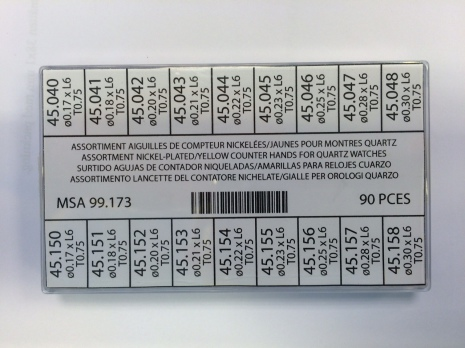 SORT. SEKUNDVIS SMÅ KRONOGRAF 90 ST GUL/VIT rör h 0,75 - hål 0,17-0,30
