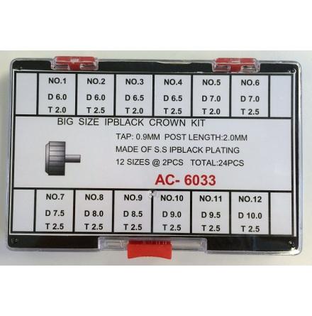 SORT. KRONOR SVARTA 6 - 10 MM 24 ST 0,90 tub 2,0 - 2,5