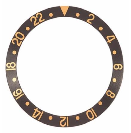 ROLEX SKALA TILL VRIDRING,SVAR GMT SAFIR 30,55x37,7 SVART/GUL
