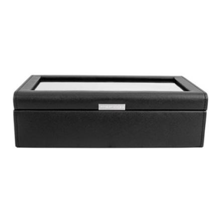 BOX FÖR 10 UR, SVART SYNTET 30 x18 x 8,5 cm vävstruktur
