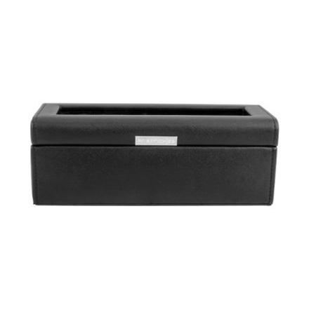 BOX FÖR 4 UR, SVART SYNTET 24 x 9,5 x 8,5 cm vävstruktur