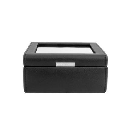 BOX FÖR 6 UR, SVART SYNTET 18 x18 x 8,5 cm vävstruktur